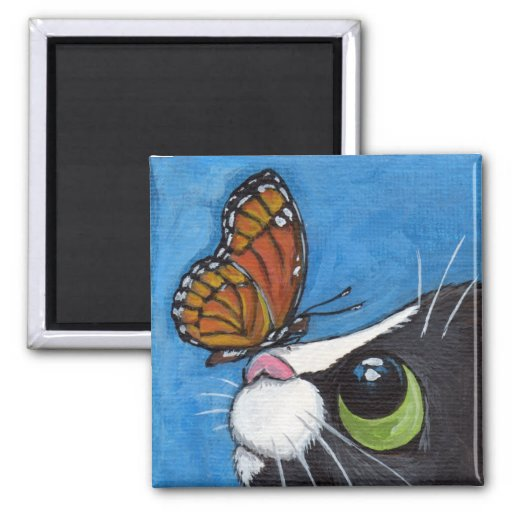 Tuxedo Cat and Viceroy Butterfly Fridge Magnet