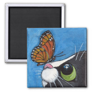 Tuxedo Cat and Viceroy Butterfly Square Magnet