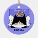 Tuxedo Cat Angel Personalise Round Ceramic Decoration