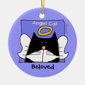 Tuxedo Cat Angel Personalize Round Ceramic Decoration