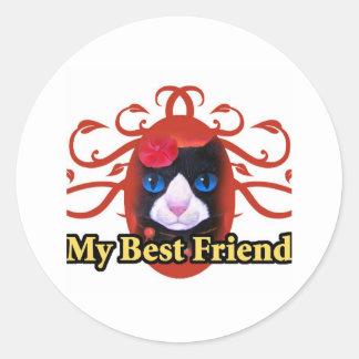 Tuxedo Cat Art Painting Print - Multi Round Sticker