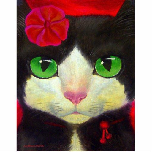 Tuxedo Cat Art Painting Whimsical Feline Standing Photo Sculpture