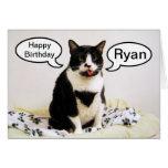 Tuxedo Cat Birthday Ryan Humour Card