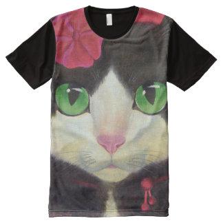 Tuxedo Cat Black All Over Printed Panel T-Shirt All-Over Print T-Shirt