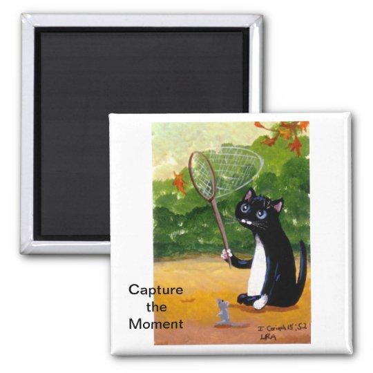 Tuxedo Cat Black Art  Mouse Magnet Creationarts