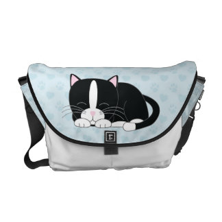 Tuxedo Cat {blue} Commuter Bags