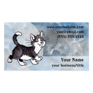 Tuxedo Cat Business Card - Blue and Gray