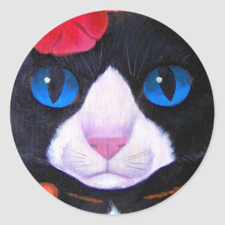 Tuxedo Cat Butterfly Painting - Multi Round Sticker