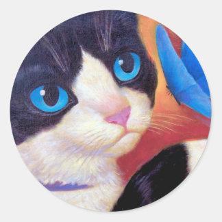 Tuxedo Cat Butterfly Painting - Multi Sticker