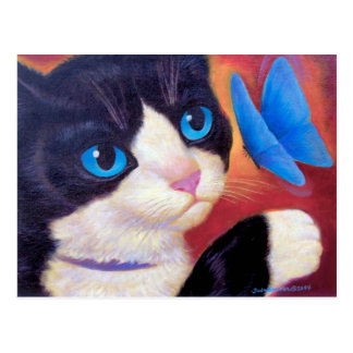 Tuxedo Cat Chasing Butterfly Painting Postcard