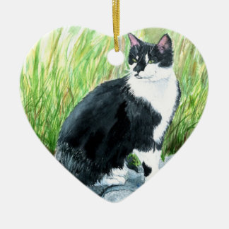 Tuxedo Cat Christmas Ornament