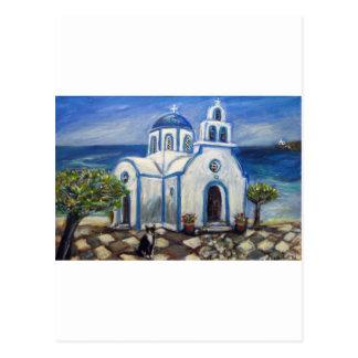 Tuxedo Cat Church on Greek Island painting Postcard