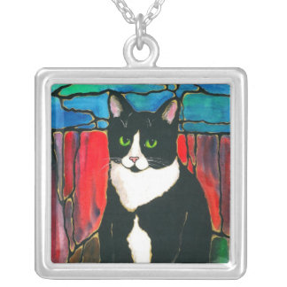 Tuxedo Cat cute kitty unique stained glass style Square Pendant Necklace
