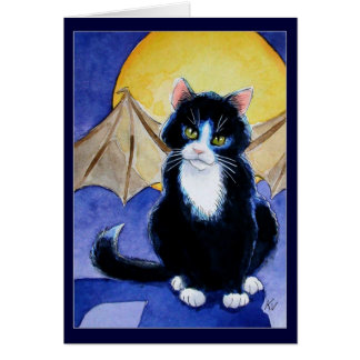 Tuxedo Cat Halloween Gargoyle card or invitation