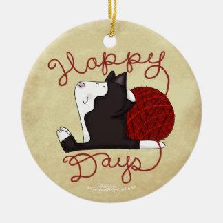 Tuxedo Cat- Happy Days Christmas Ornament