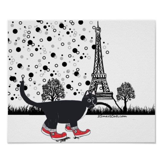Tuxedo cat in Paris Poster