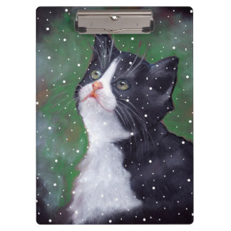 Tuxedo Cat Looking Up at Snow, Oil Pastel Art Clipboard