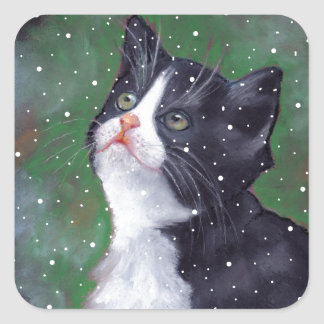 Tuxedo Cat Looking Up At Snowflakes, Painting Square Sticker
