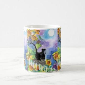 Tuxedo Cat Moon in Sunflowers Coffee Mugs