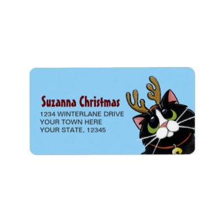 Tuxedo Cat Reindeer Christmas Label