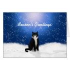 Tuxedo Cat Seasons Greetings Card