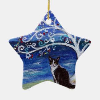 Tuxedo Cat & Tree of Life Christmas Ornament