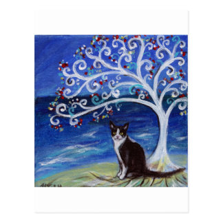 Tuxedo Cat & Tree of Life Postcard