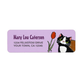 Tuxedo Cat & Tulip | Return Address Label