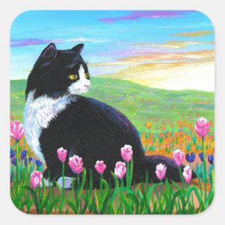 Tuxedo Cat Tulips Creationarts Square Sticker