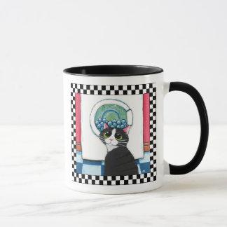 Tuxedo Cat Watching Washing Machine   Cat Art Mug