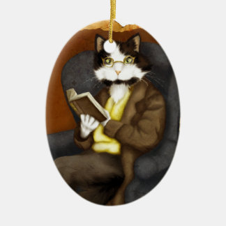 Tuxedo Cat Wearing Clothes and Reading Book Christmas Ornament