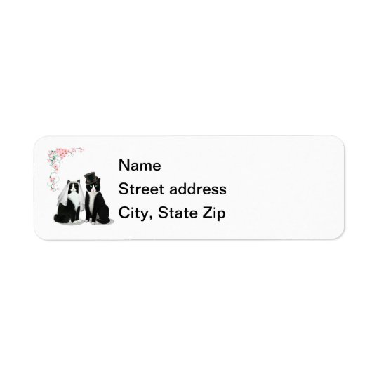 Tuxedo Cat Wedding Address Label