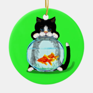 Tuxedo Cat with Fish Ornament