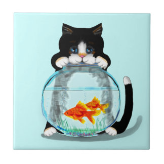 Tuxedo Cat with Fish Tile