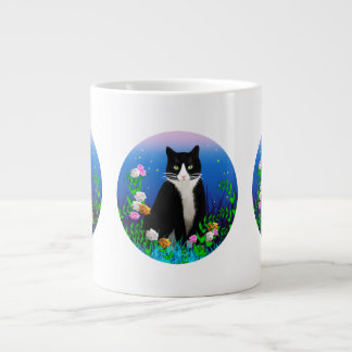 Tuxedo Cat with Flowers Mug Jumbo Mug