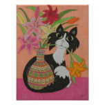 Tuxedo Cat with Lilies