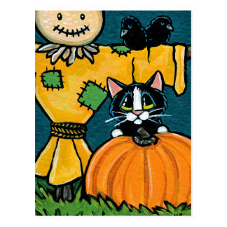 Tuxedo Cat with Pumpkin and Scarecrow Illustration Postcard