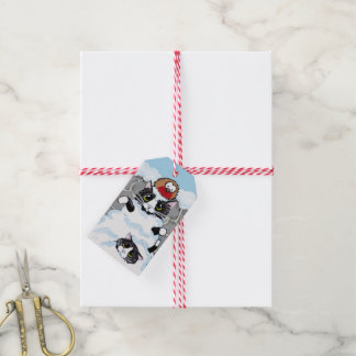 Tuxedo Cats & Robin in Snow Avalanche Gift Tags