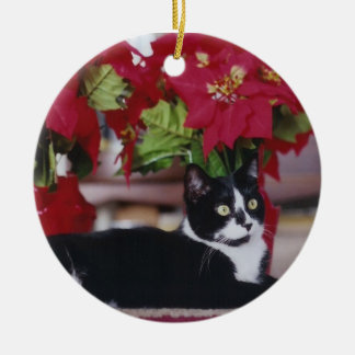 Tuxedo Christmas Cat Round Ceramic Decoration