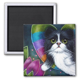 TUXEDO FAIRY PERSIAN CAT ...FLOWERS FOR YOU MAGNET