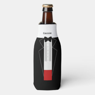 Tuxedo Groom Custom Bottle Can Cooler
