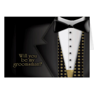 Tuxedo Groomsman Invitation Greeting Cards