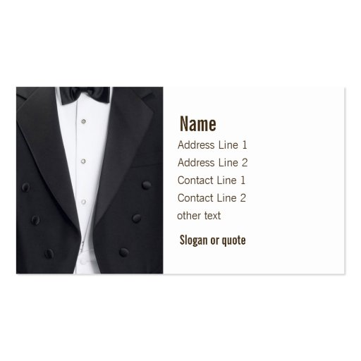 Tuxedo Jacket and Bow Tie Business Card Templates