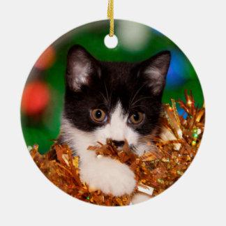 Tuxedo kitten Christmas Christmas Ornament