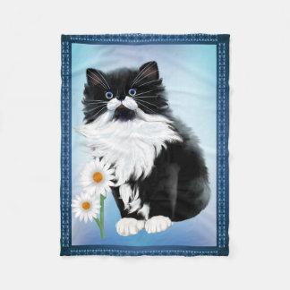 Tuxedo Kitten FaceKitten and Daisy Fleece Blanket