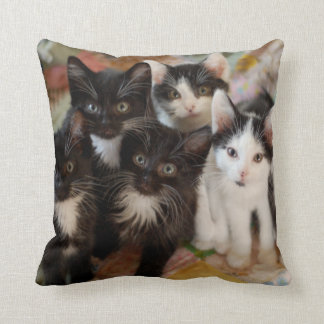 Tuxedo Kitten Group Throw Pillow