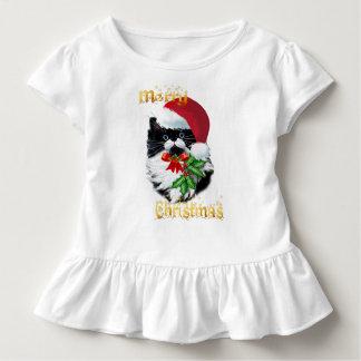 Tuxedo Kitty at Christmas-text Toddler T-Shirt