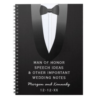 Tuxedo Man of Honor Wedding Speech Ideas Journal Spiral Note Book