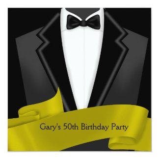 Tuxedo Mans Black Gold 50th Birthday Party Card