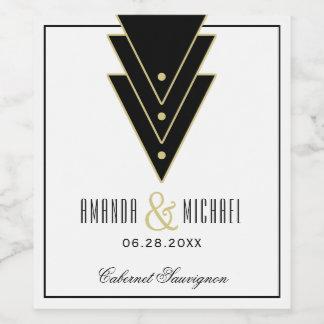 Tuxedo Modern Art Deco Wedding Wine Label